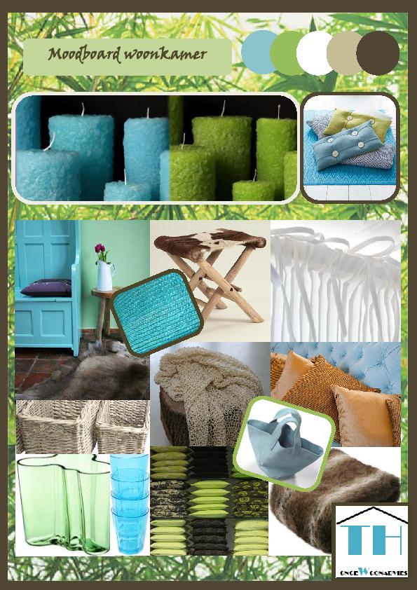 moodboard woonkamer blauw groen