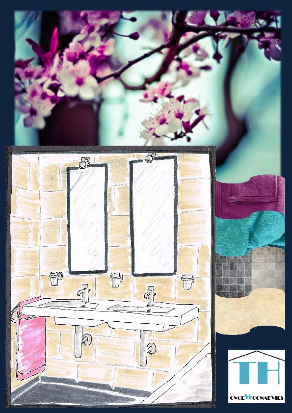 badkamer 3D tekening violet